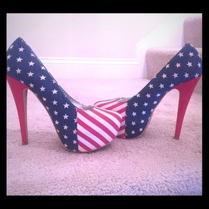 Patriotic - Red, White, Blue flag-print heels - 8
